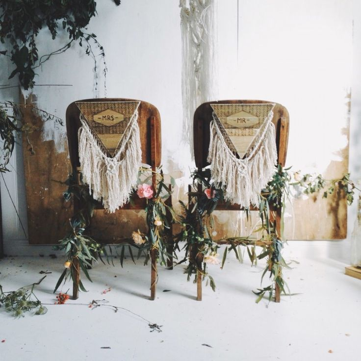 Macrame Bride And Groom Chair Decorations For A Boho Wedding