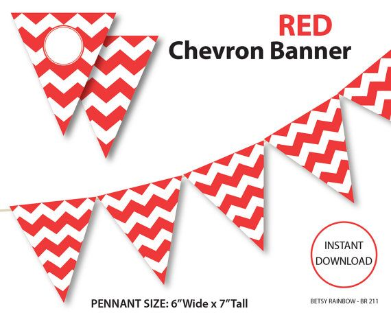 Red banner, chevron banner, bunting banner, red chevron banner, printable banner, pennants, DIY party  - BR 211 on Etsy, $2.00
