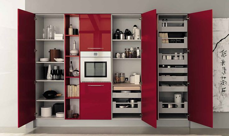 Red Cabinets, Red Shelves, Red Kitchen, White Cabinet ideas, White Kitchens, Grey Kitchen counters, Grey Kitchen ideas