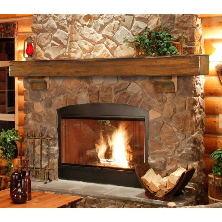 Pearl Mantels Shenandoah Traditional Fireplace Mantel Shelf - We need one for our stone fireplace... I like the way this looks!