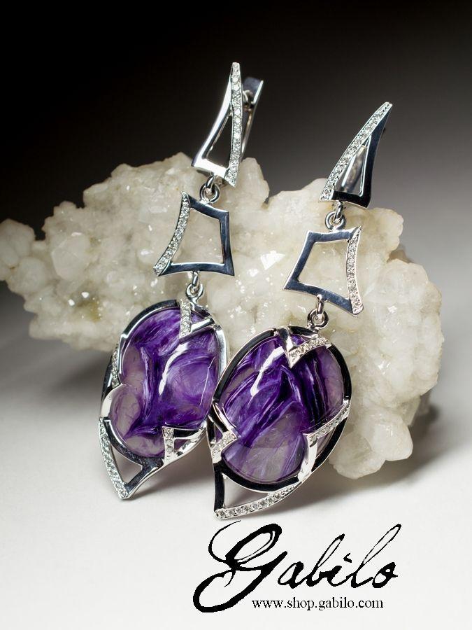 Gold Charoite Earrings by Gabilo