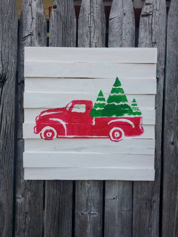 Hey, I found this really awesome Etsy listing at https://www.etsy.com/listing/213259133/red-vintage-truck-with-green-trees-with