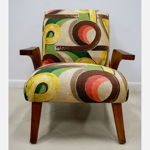 Inspirational s Barkcloth Lounge Chair