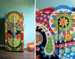 ethnic style painted furnitureCon Ondas, Painting Furniture, Art Inspiration, Muebles Especial, Muebles Pintados, Furniture Art, Furniture, Artists Decor, Con Art