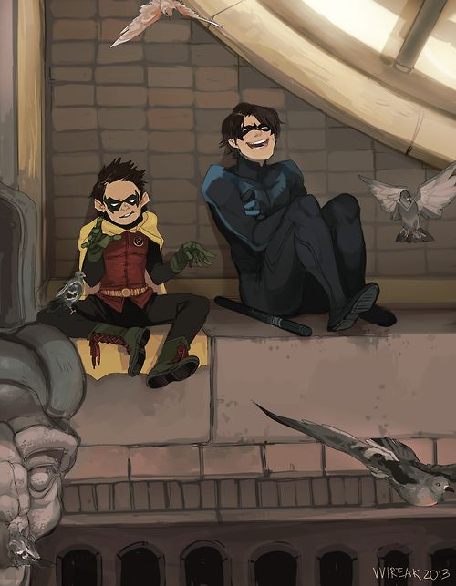 "Damian and Grayson (You can just hear the convo, Damian: Drake was all ""waa waa sniff"" and Father was all ""GRRR GRRR"")"