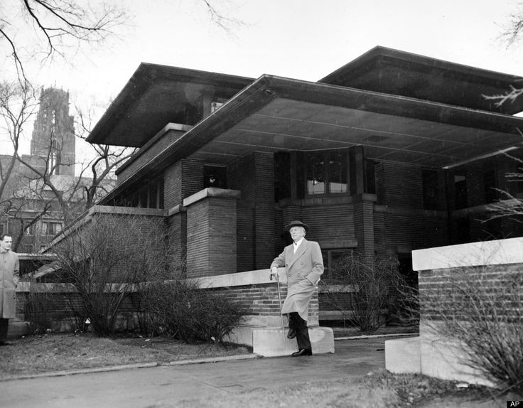 In this file photo of March 18, 1957, architect Frank Lloyd Wright visits Robie House, his 1909 Prairie style design, on Woodlawn Avenue in Chicago, Ill.