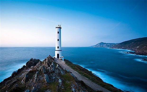 Cabo Home Lighthouse between rias of Pontevedra and Vigo, Spain. Hotelgranproa.com