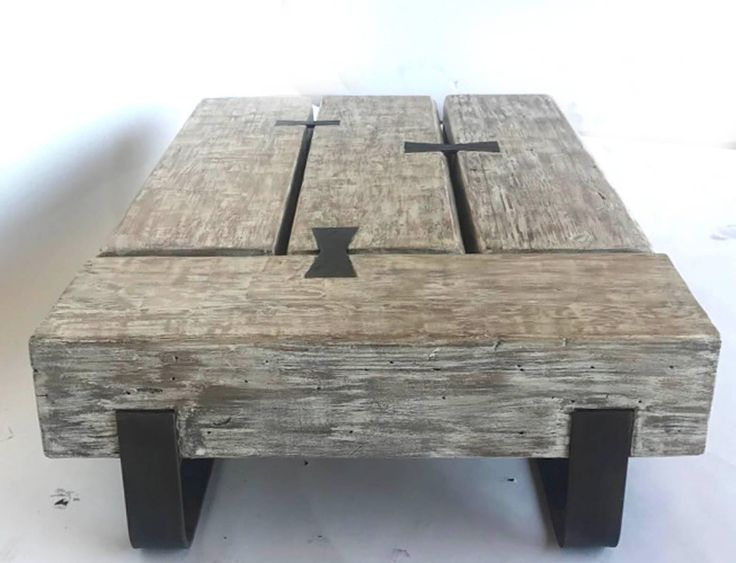 Reclaimed Beam Coffee Table with Iron Base by Dos Gallos Studio | From a unique collection of antique and modern coffee and cocktail tables at https://www.1stdibs.com/furniture/tables/coffee-tables-cocktail-tables/