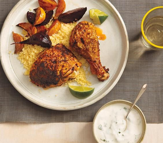 Roasted Chicken and Beets With Couscous and Yogurt Sauce recipe