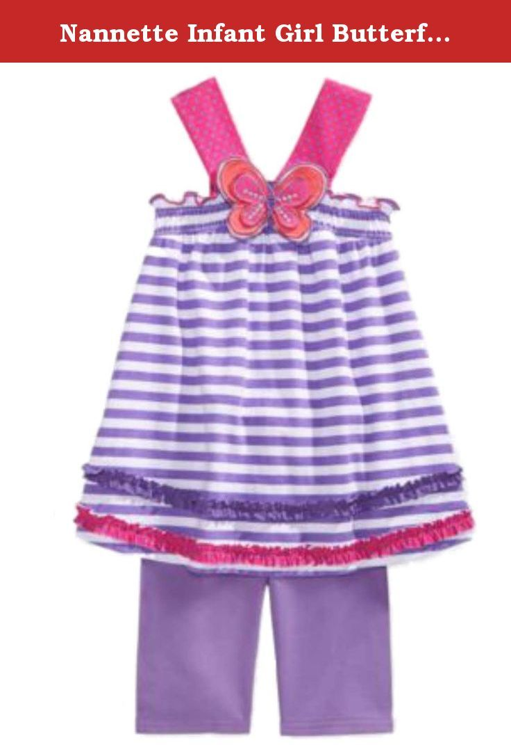 Nannette Infant Girl Butterfly Outfit Purple Striped Top Shorts 2 Piece Set 6-9m. This 2 piece baby outfit is so cute, you will want to dress her in it often! It features a purple and white striped sleeveless top with a butterfly patch on the front, smocking on upper bodice, polka dot straps, ruffle trim accents on the bottom hemline; and purple elastic waist stretch shorts. Infant girl's sizes 2-Piece Set 100% Cotton Brand: Nannette .