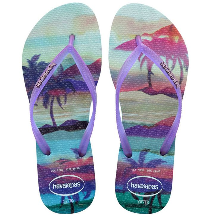 Havaianas Slim Paisage Ladies Flipflops - Ice Blue
