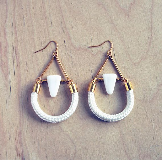 Geometric triangle and rope dangle earrings by AlmostDone on Etsy, $16.00