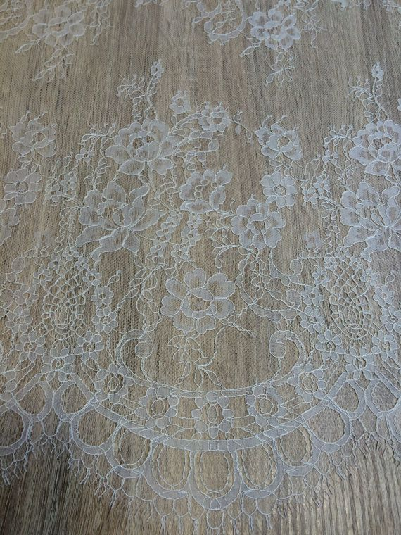 Ivory lace fabric French Lace Embroidered lace by ImperialLace