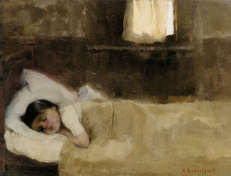 """Helene Schjerfbeck (Finland 1862-1946) Nukkuva Tytto - Sleeping daughter (1890) oil on canvas 27 x 35.7 cm """