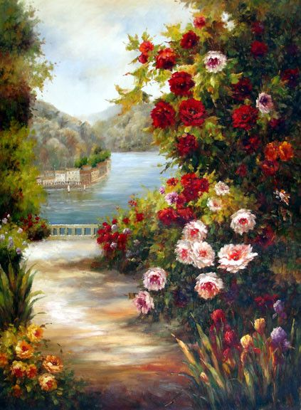 Terrace View on the Sea - Original Oil Painting Artist: Unknown  Size: 48 High x 36 Wide Canvas  Hand-painted, original oil painting on unstretched canvas.