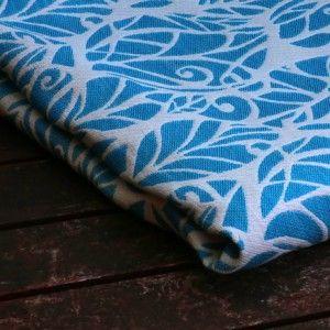 Solnce Genesis Khaleesi  Warp: 43% ecru Egyptian cotton. Weft: 19% azure blue merino, 18% bluejay hemp, 20% white linen, 320 gr/m2
