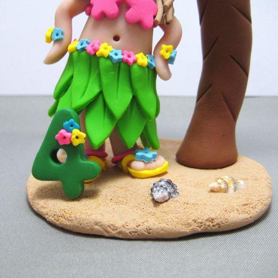 Hula Luau ragazza compleanno torta Topper con la di clayinaround