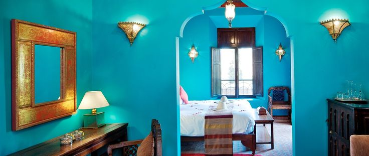 Luxury Holiday Ideas Morocco Kasbah Tamadot Turquoise Rooms