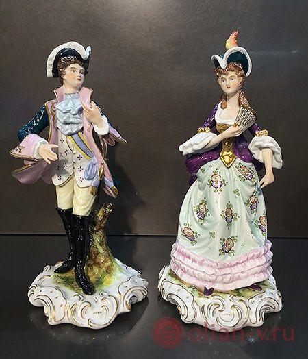 "Фарфоровая статуэтка ""Дама"" и ""Кавалер"", Scheibe-Aslbach, Германия"