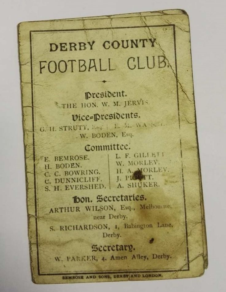 First ever Derby County FC fixture list