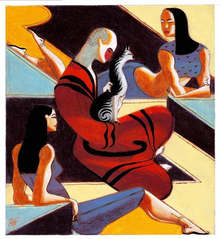 """Lorenzo Mattotti, illustrazione per """"Le Monde"""", sul volume di Yunichiro Tanizaki """"La gatta"""", 7 marzo 1997"""