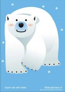 Bewegingskaarten ijsbeer voor kleuters 6, lopen als een beer , kleuteridee.nl, thema Noorpool, Movementcards for preschool,  free printable....