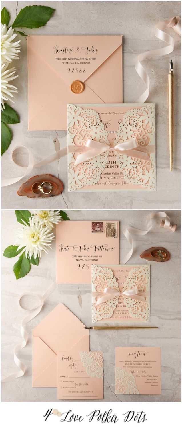 Love the rubber seal.   Peach Laser cut wedding invitation #peach #pastel #wedding #weddingideas #lasercut #lace #elegant