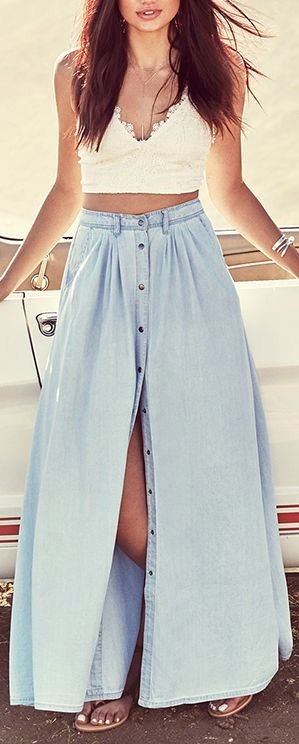 Denim Maxi Skirt and lace crop top! so nice for a #summer #style