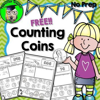Counting Coins Free!!  No Prep Counting Coins free sample is for students in First, Second and Third grade who are learning how to count coins!  Pennies, Nickels, Dimes, and Quarters are included in each printable!  Counting Coins pack is great for:Whole Class Practice, Small Group Work, Homework, and Individual Practice!