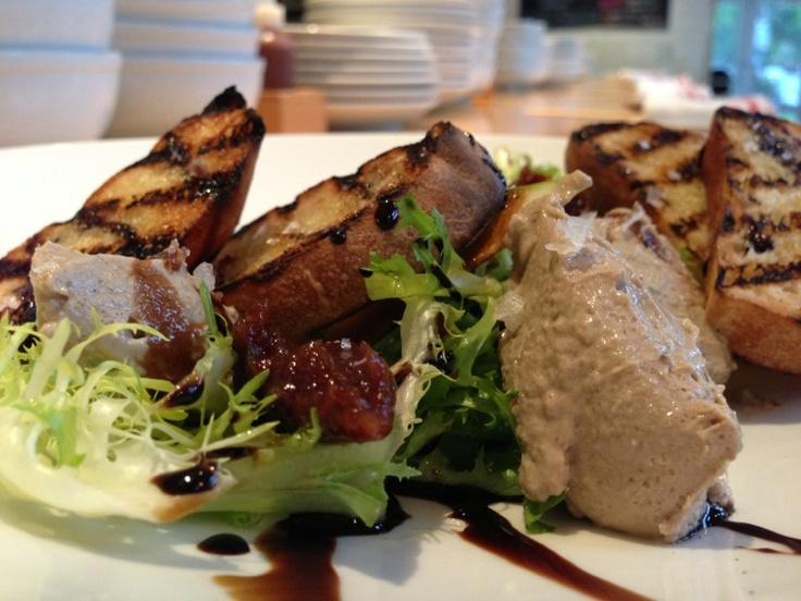 Beautiful dish on Gigi menu: Pâté, fig tamarind compote, frisée, apple, white truffle