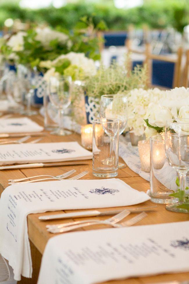Custom printed wedding menus on napkins I Richard Ellis Photography