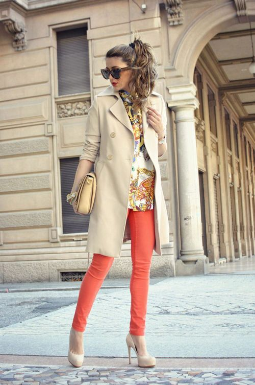 Love the coral pants with the khaki trench jacket! Gold accents, clutch with the shades .... so my style!