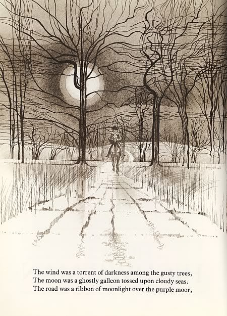 Charles Keeping's illustrations for The Highwayman (Alfred Noyes).