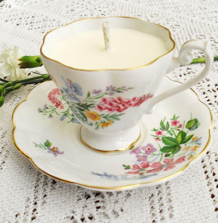 DIY : des bougies «tasse de thé» pour une décoration shabby chic