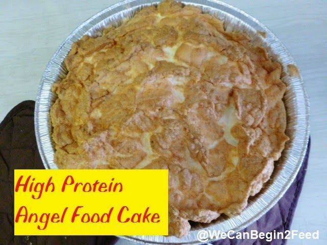 High Protein Angel Food Cake Makes 1 cake 1/2 cup (approximately 4) room egg whites at room temperature 1 tsp cream of tartar 10 drops liquid vanilla stevia 3/4  scoop whey protein powder  1/2 tsp baking powder