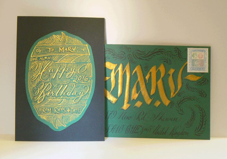 Happy Birthday Marv 2016 #Envelope #Calligraphy #Gold GIF