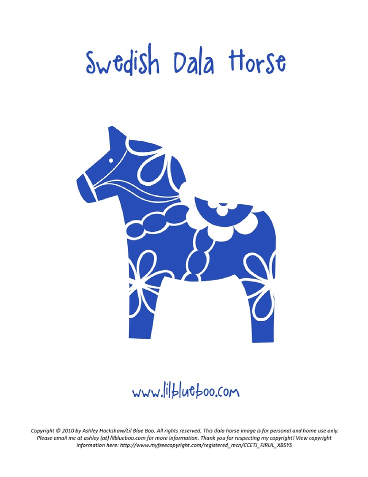 Dala horse printable: This could be fun to make into a stencil for painting on shirts.