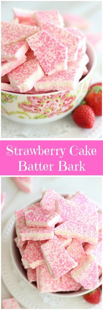White chocolate bark is infused with funfetti cake mix, and strawberry cake mix, for a pretty strawberries-and-cream layered candy bark!