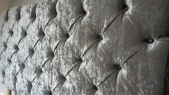 "Downham Crushed Velvet Silver Grey Deep Crystal Buttoned 5ft King Size 36"" High Headboard"