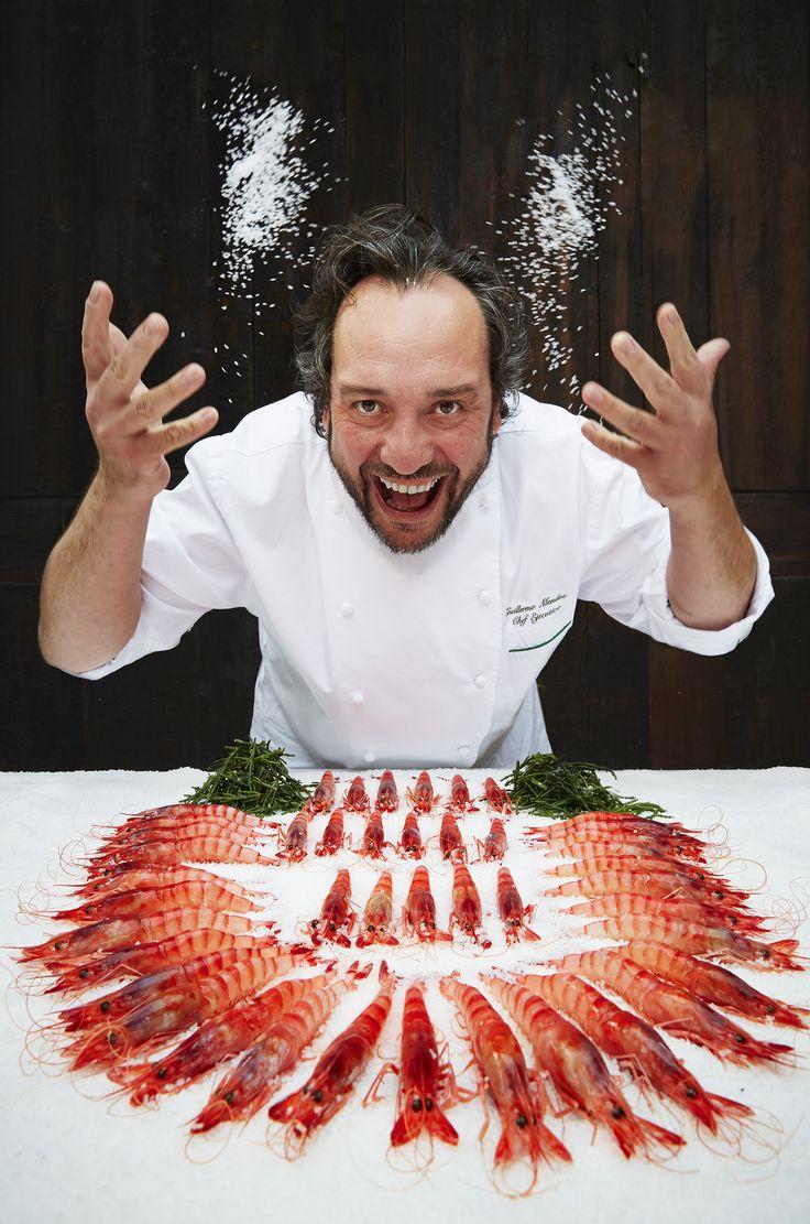 Our Chef Guillermo celebrating fresh caught gambas de Sóller