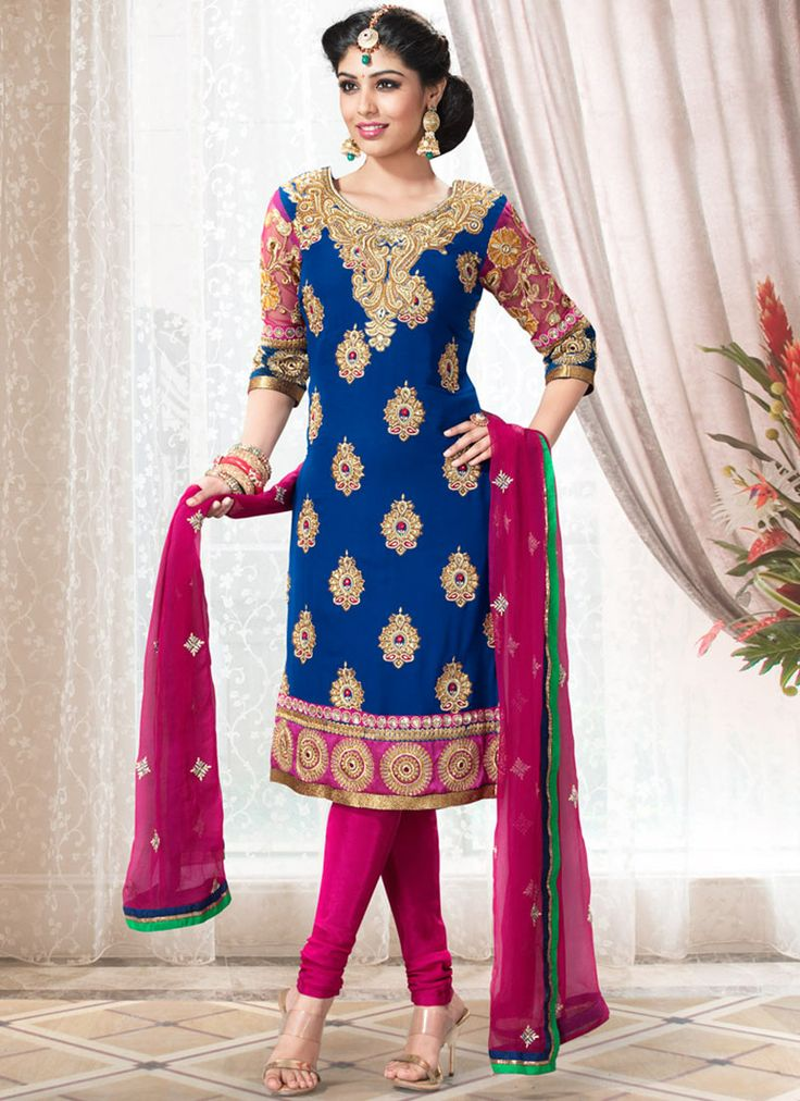 Attractive Blue Churidar Suit : Cbazaar