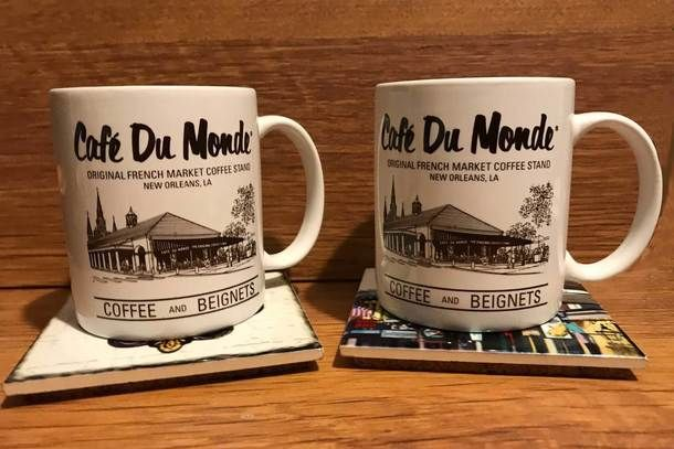 Cafe Du Monde Coffee Mug and New Orleans Tile Cork Back Coaster Set of 2