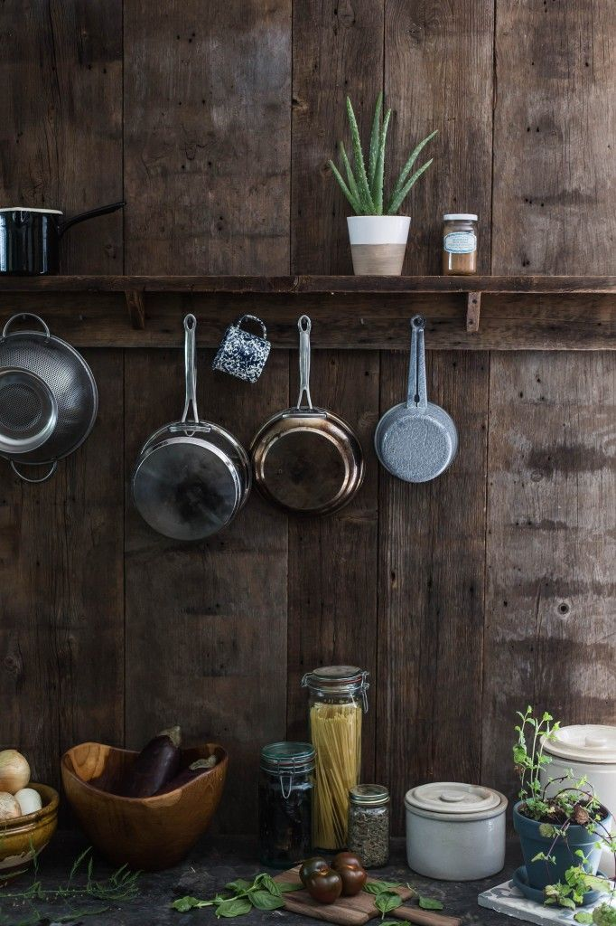 Wood Wall Country Kitchen Pot Rack By Jersey Ice Cream Co