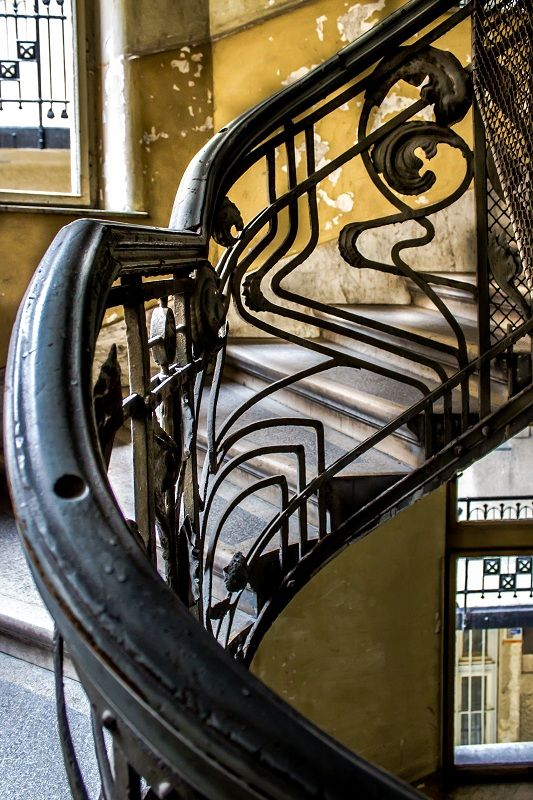 Art Nouveau staircase, Budapest, Hungary.