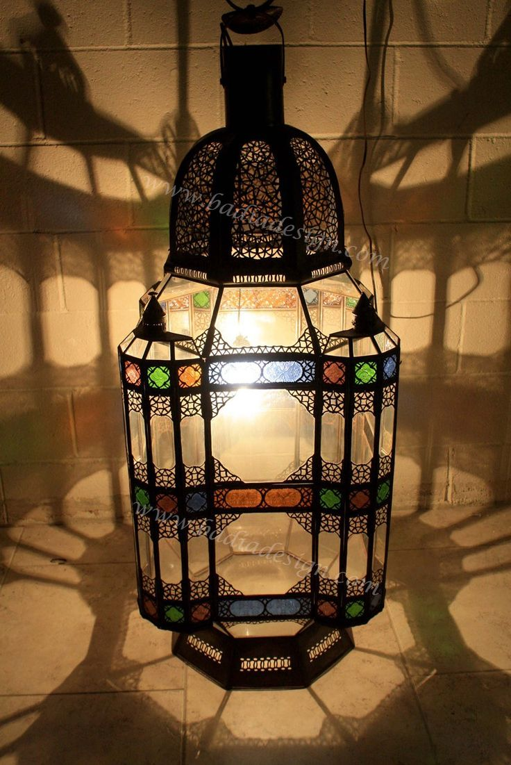 Badia Design Inc Store   Large Moroccan Floor Lamp With Multicolor Glass    LIG222, (
