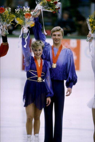 1984 Olympic Ice Dance Champions Jayne Torvill and Christopher Dean.  They danced to Ravel's Bolero and got a perfect score!