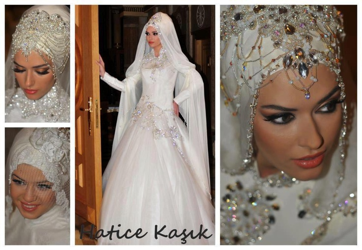 beautiful wedding hijab design