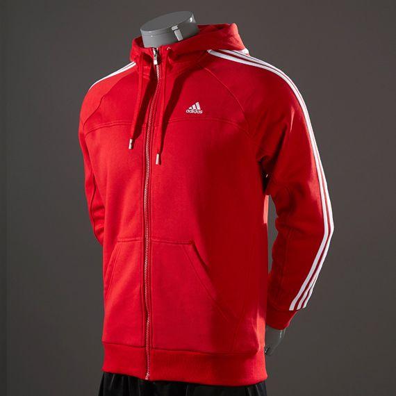 adidas Essentials 3 Sripe Full Zip Hoody - Light Scarlet/Light Scarlet