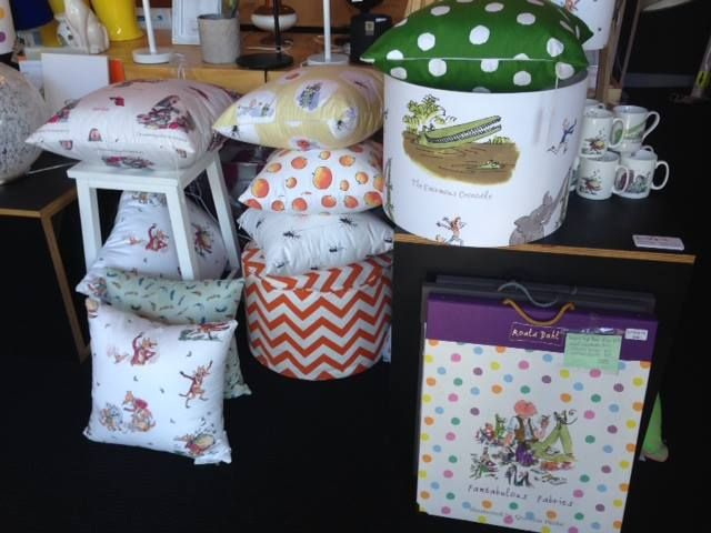 Custom made Roald Dahl lampshades, pendants and cushions by Enrich Interiors - Wortley Group Fabrics include Charlie and the Chocolate Factory, Fantastic Mr Fox, Twits, Matilda, James and the Giant Peach, Pelly and Me, Dirty Beasts, BFG, Enormous Crocodile