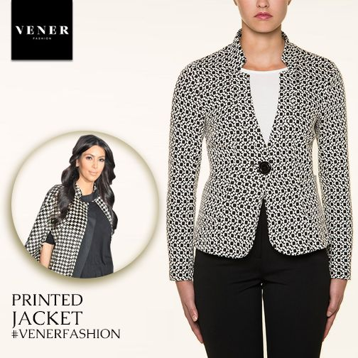 Printed jacket black & white by VENER Fashion!